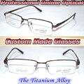Optical Custom made optical lenses Titanium alloy brown semi-rim frame Reading glasses +1 +1.5 +2+2.5 +3 +3.5 +4 +4.5 +5 +5.5+6