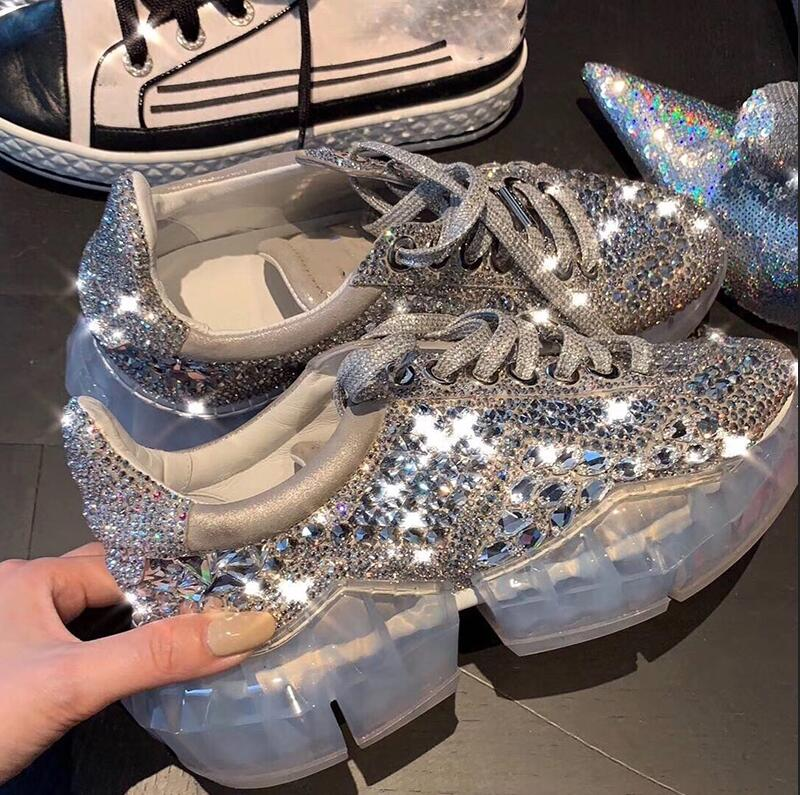 2019 Newest Platform Sneakers Bling Crystal Rhinestone Women Casual Shoes Chunky Thick Clear Heel Tennis Feminino Star Shoes