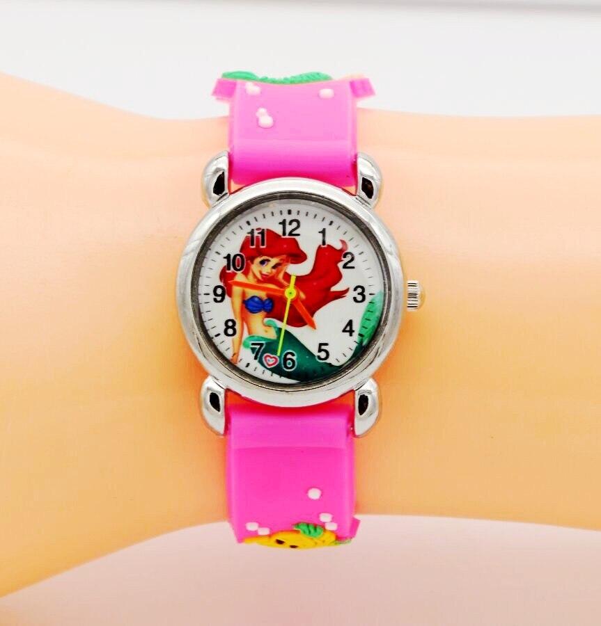 NEW 3D Cartoon Kids Students Watch Cute The Little Mermaid 1pcs/lot Best Gift Wristwatch Jelly Watch Watch