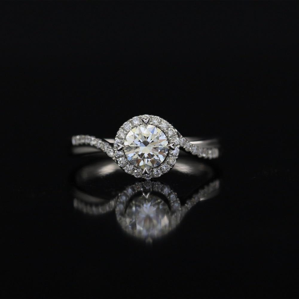 62ceb9863891 LASAMERO 0.503CT DE SI corte redondo Halo anillo DE diamante Natural para  Mujeres 18