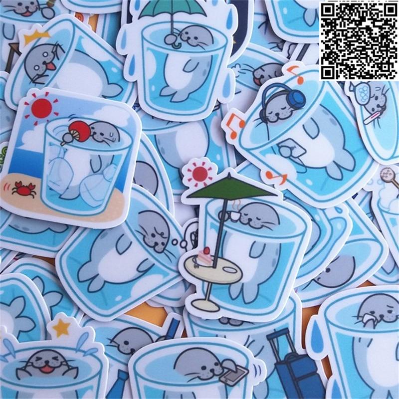 40 pcs waterproof cartoon Small seals sticker for Wall decor fridge motorcycle Bike laptop car stickers figure toys no repeat