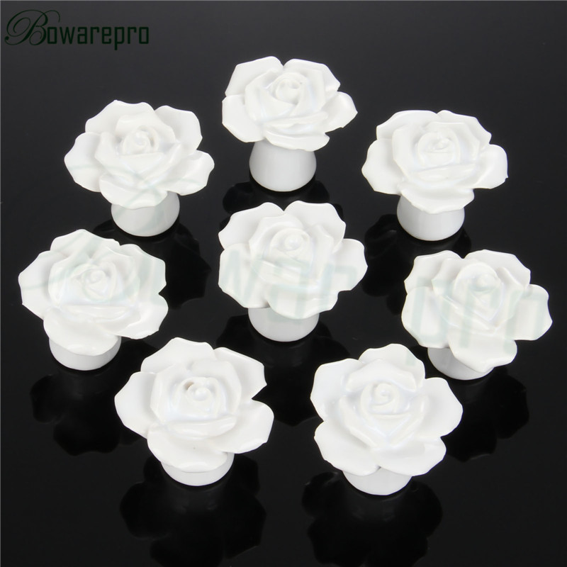 High Quality Rose Flower Ceramic Door Knob Cabinet Kitchen Cabinet Pull Drawer Handle Vintage Button Ceramic Cupboard Handle 8/p push to open beetles drawer cabinet latch catch touch release kitchen cupboard new arrival high quality
