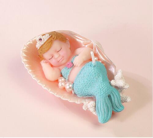 Sjöjungfru ljusstake mermaid silikon tvål sovande baby - Kök, matsal och bar