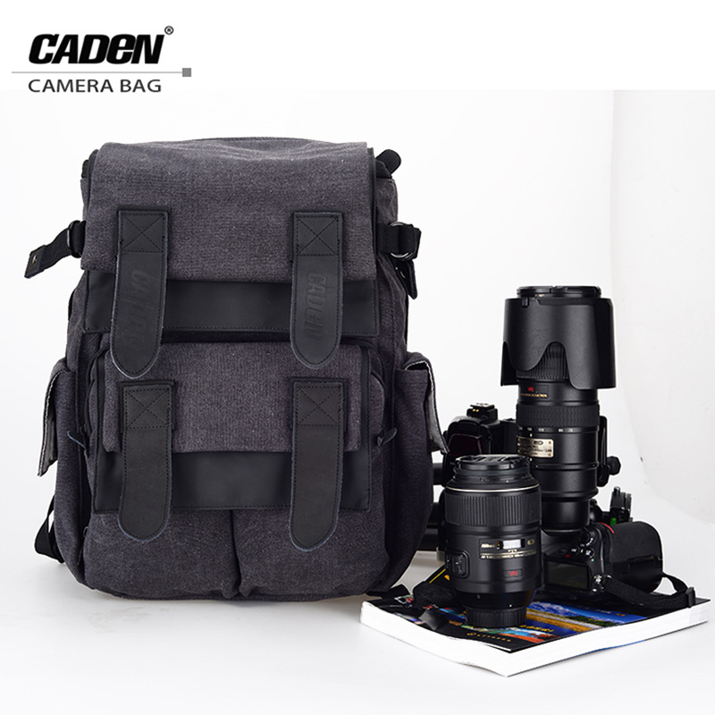CADeN Waterproof Canvas Camera Bag M5 Backpack  Photo Video Digital Camera Case For DSLR Canon Nikon D5200 D3100 D80 D90 60D 70D caden n5 camera backpack video dslr slr case canvas multi functional camera bags with tripod belt rain cover