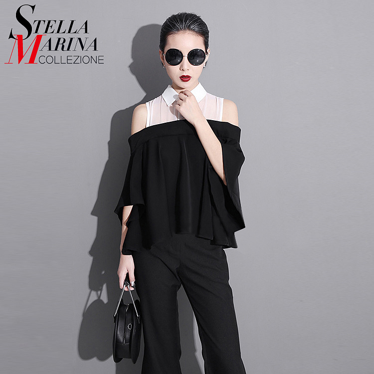 2017 Summer Women T-Shirt Half Sleeve Hollow Shoulders Black Patchwork Ruffle Style T Shirts Loose Pleated Chiffon Tee Tops 1251