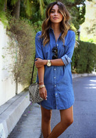 Women Casual Denim Dresses Pockets Elegant Cowboy Fashion Women Feminino Lady Slim Shirt Dress Jeans 1
