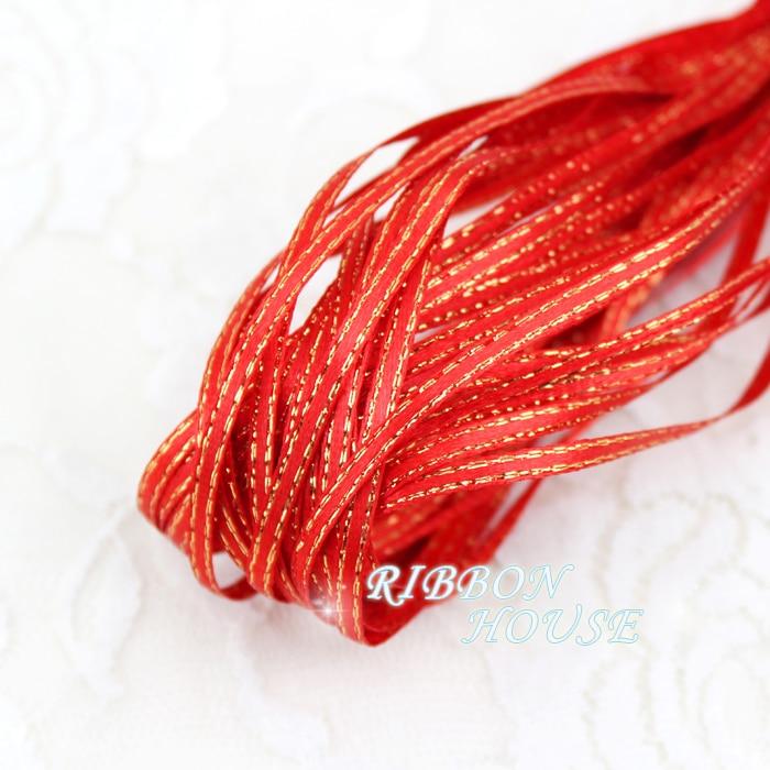 (20 м/лот) 1/8 »(3 мм) красный золотой край, атласные ленты оптовая продажа