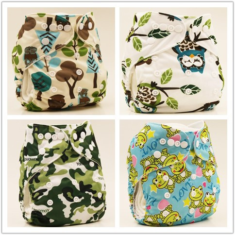 1Pcs Washable Baby Cloth Diaper Cover Waterproof Cartoon Multiple Styles Baby Diapers Reusable Cloth Nappy S M& L Adjustable