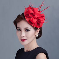 2016 Sinamay Fascinator Hair Clip Vintage Wedding Hair Accessories Women Flower Feather Headwear Party Headdress Top Hat Hairpin
