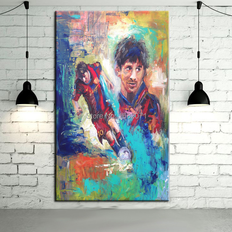 Frameless Oil Painting Soccer Star Messi Oil Paintings On Canvas Football King Messi Pictures For Living Room Decorations