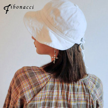 8a9029a056c Fibonacci 2018 New Brand Quality Cotton Bucket Hat Split Bow Adjustment  Band Flat Caps Fishman Panama