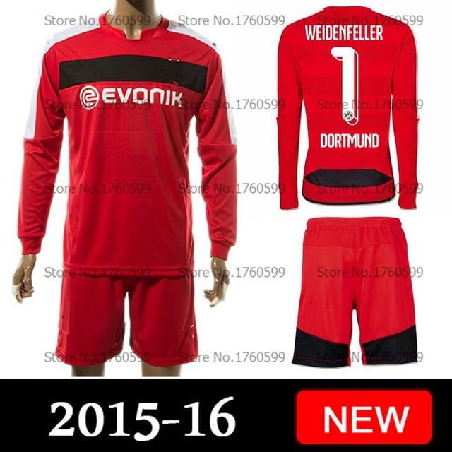 2015 2016 Bundesliga Borussia Dortmund camisa de futebol camisa  WEIDENFELLER início longo vermelho da luva camisa 0b9d433aac350