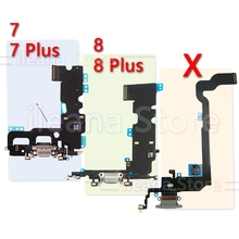 Genuine Bottom Charging Flex For iPhone 7 8 Plus USB Charger Port Dock Connector With Mic Flex Cable For iPhone X Phone Parts