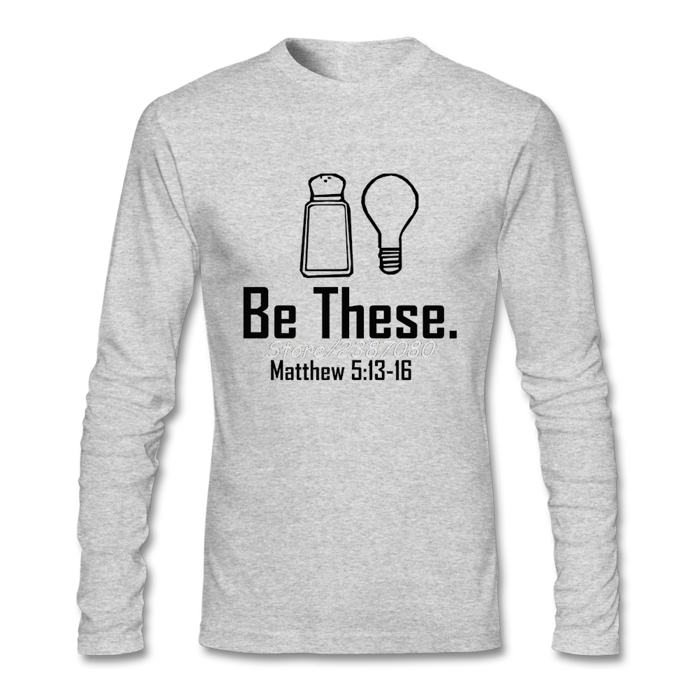Быть эти соль и Свет христианской Matthew 513-16 т рубашка осень премиум с длинным рукавом заказ большой Размеры Рубашки для мальчиков