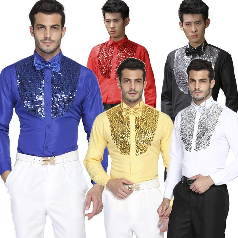 Hommes coton à manches longues chemise bling chemises vêtements de scène vêtements pour hommes chemise de danse