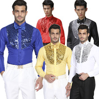 Male cotton long sleeve shirt bling shirts stage clothes men's clothing dance shirt
