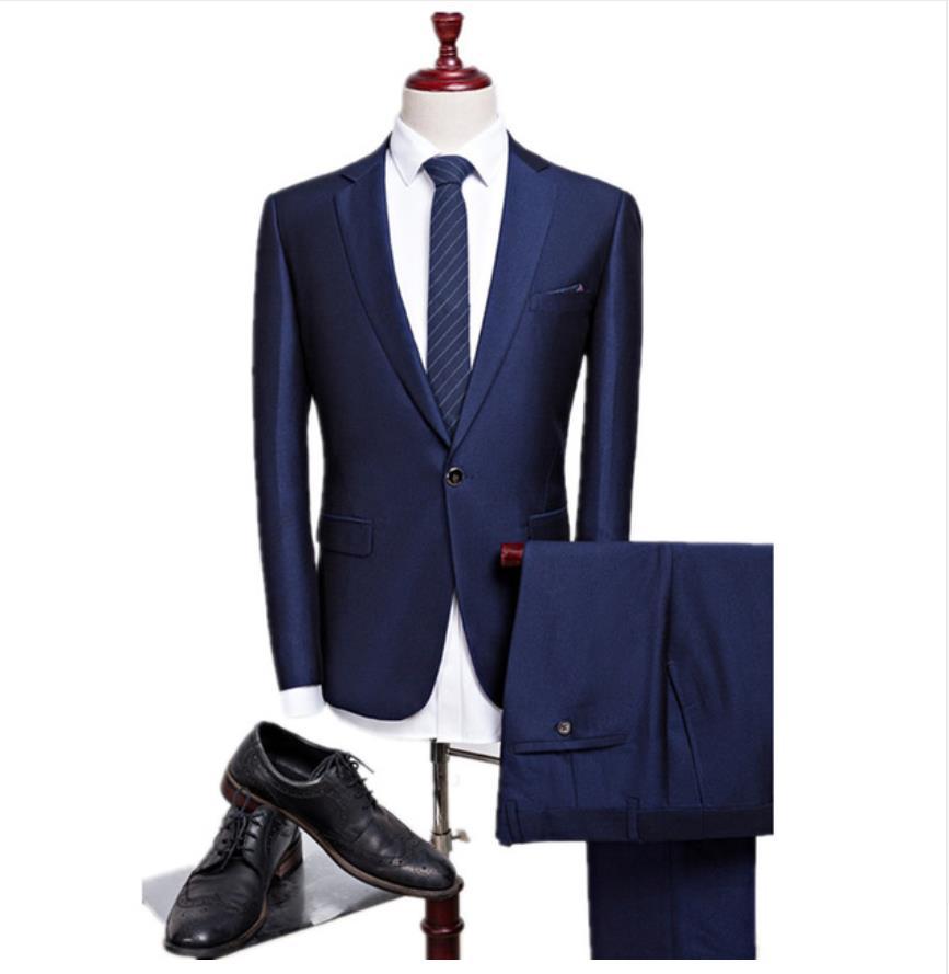 2018 New Autumn Wedding Navy Blue Suits Men Blazer Men's Navy Blue Business Suits Men's Dress Suits Size M-4XL Groom