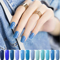 12 Bluesky Series Colors Coat Nail UV Soak Off Sky Blue Gel Nail Polish Holographic Nail Builder Glitter Glue Long Lasting