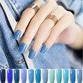 12 Serie de Colores de Uñas Capa Bluesky UV Empapa del Cielo Holográfica azul Esmalte de Uñas de Gel Del Clavo Del Constructor Glitter Glue Largo duradera