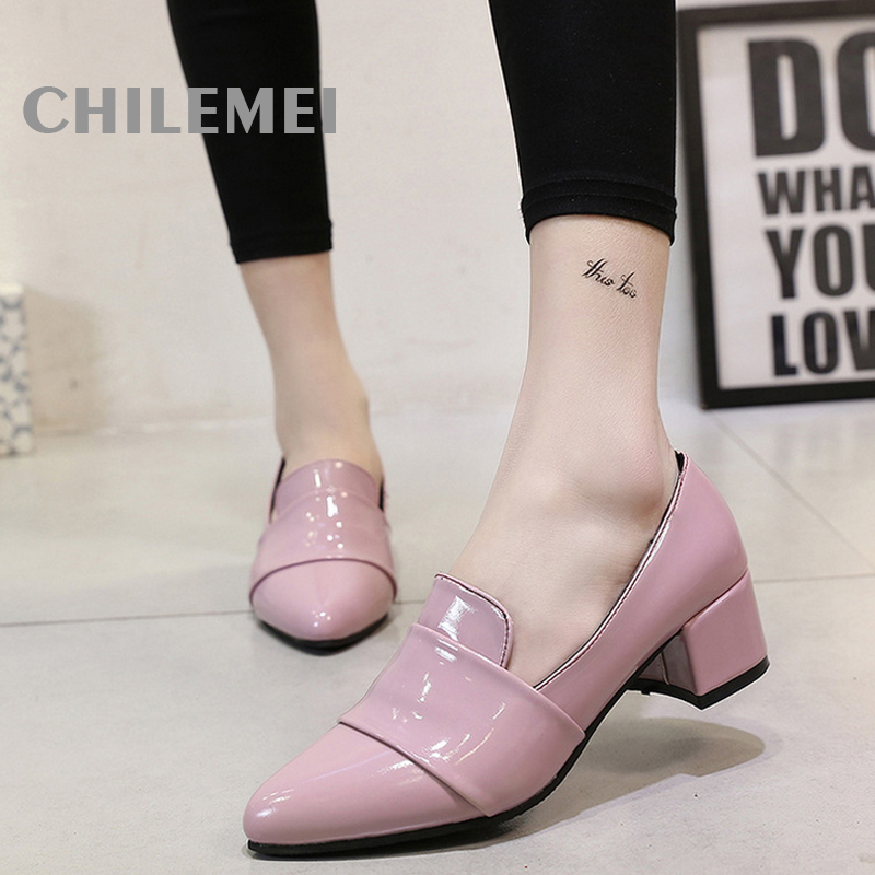 Spring autumn square heels woman's shoes pink black red shoes women pointed toe heels slip on woman flats PU women's sandals new spring autumn women shoes pointed toe high quality brand fashion ol dress womens flats ladies shoes black blue pink gray