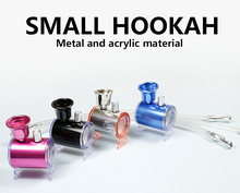 Mini Hookah Shisha Smoking Tobacco Pipe Water Pipe with Leather Tube 41MM Tobacco Holder Filter  Smoke 4 Colors Narguile Drop