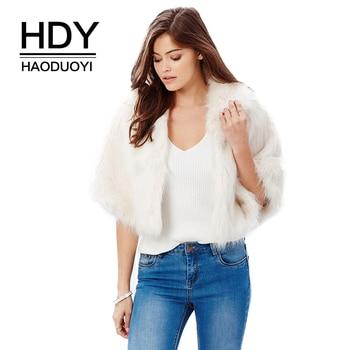 HDY Haoduoyi Frauen Weiß Faux Pelz Jacke Mode Kurze Crop Coat Herbst Winter Cape Jacken Damen Formale Party Faux Pelz mäntel