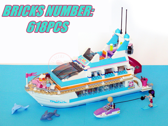 10172 Friends Girl Dolphin Cruiser Vessel ship model kits Building Blocks Compatible legoes friends gift kid set bricks girl Toy 10494 city supermarket building bricks blocks set girl toy compatible lepine friends 41118
