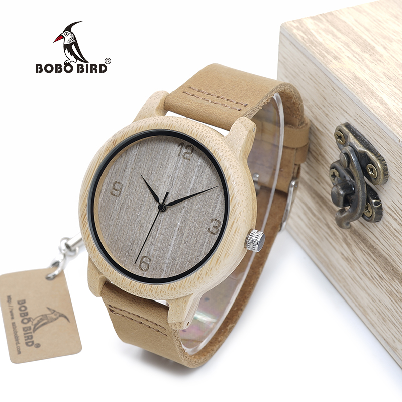 BOBO BIRD WL09 Womens Casual Antique Round Bamboo Wooden Watch With Leather Strap Lady Watches Top