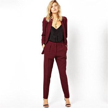 182b9724b9284 Blazer nuevo trabajo desgaste Formal pantalones de Chaqueta de traje de las  mujeres de negocios Borgoña Oficina uniforme para mujer trajes de 2 piezas  ...