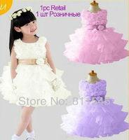 Retail Baby Girl Rosette Flower Chiffon Lace Dress Princess Birthday Wedding Party Wear Fashion 2013 Summer