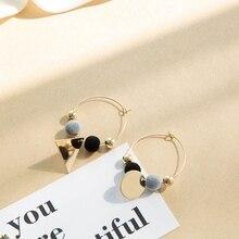 Simple Fashion Style Boho Dangle Earring font b Gold b font Color Circle Plush Ball Earrings