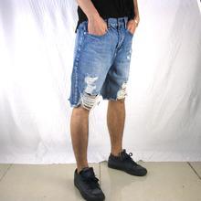2019 Hot Sale high street mens hip hop casual cool black hole wear new hot destroyed Denim shorts men Jeans Loose Short jumpsuit