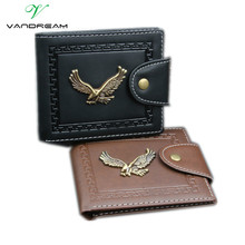 Men Wallets Famous Brand Man Wallet Leather with Coin Pocket Purse for Credit Cards Short Slim Black Brown Vintage Metal Eagle !