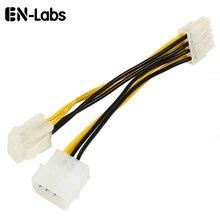 6 pulgadas ATX 12V P4 4 Pin con Molex LP4 a EPS 12V 8 Pin placa base/CPU fuente de alimentación Adaptador convertidor Cable,ATX P4 a EPS 8Pin