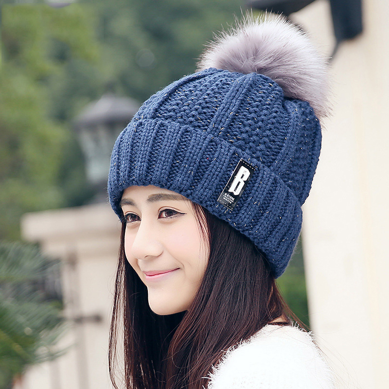 BONJEAN warm Beanies Women girl 's Winter Knitted Hats Crochet Cap Fur knit Gorros Ear Protect Female Thick Cap Pompons Ball