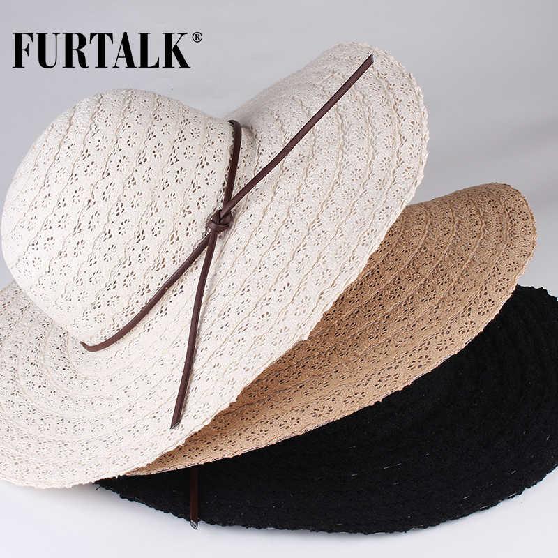 4b5d0798 ... FURTALK Summer Hats for Women Fashion Design Women Beach Sun Hat  Foldable Brimmed Straw Hat