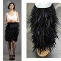 Envío libre, hasta la rodilla falda rooster hackle pluma de gallo, totalmente de doble capa forrada de tela, 8 tamaños disponibles, # SKT028