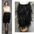 Free shipping,knee- length rooster hackle feather skirt , fully double layer fabric lined, 8 sizes available , #SKT028