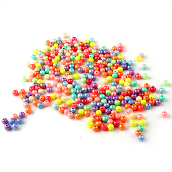 100Pcs Mixed Plastic Acrylic Solid Round Ball Charms Spacer Beads 8mm