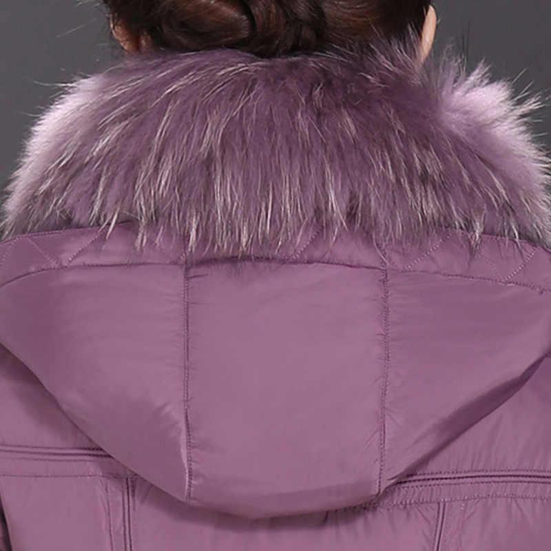 BJCJWF 2017, женские пуховики, большие размеры, зимний теплый пуховик на белом утином пуху, длинное пальто, натуральный мех енота, с капюшоном, толстая парка, верхняя одежда, 6XL