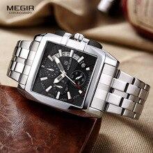 Кварцевые мужские наручные часы из нержавеющей стали, деловые часы с хронографом и квадратным циферблатом, часы Relogios Masculino, черный цвет