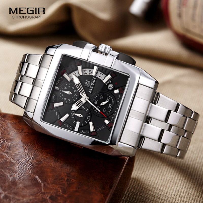 Quartz Men's Stainless Steel Dress Wrist Watches Business Chronograph Square Dial Stop Watch Clock Relogios Masculino 2018 Black