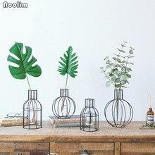 NOOLIM Nordic Style Geometric Glass Scindapsus Hydroponic Vase Dried Flower Fake Flower Iron Vase Living Room Table Decoration