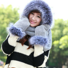 2014 New Winter Brand Fashion Fur Hats for Women NEW Hat Scarf Gloves Set Triad Hat and Scarf Set for Winter Free Shipping