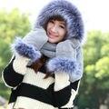 2017 New Зима Модный бренд Меховые Шапки для Женщин NEW Hat шарф Перчатки Набор Триады Шляпу и Шарф Набор для Зимних Бесплатная доставка