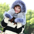 2017 New Winter Brand Fashion Fur Hats for Women NEW Hat Scarf Gloves Set Triad Hat and Scarf Set for Winter Free Shipping