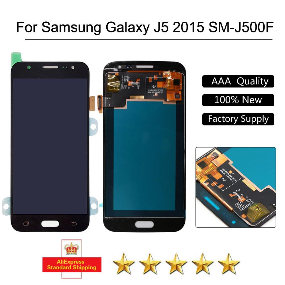 Prix pour LCD pour samsung J5 j500 affichage Pour Samsung Galaxy J5 J500F 2015 LCD Digitizer Écran Tactile J500FN J500M J500Y Noir + Outils