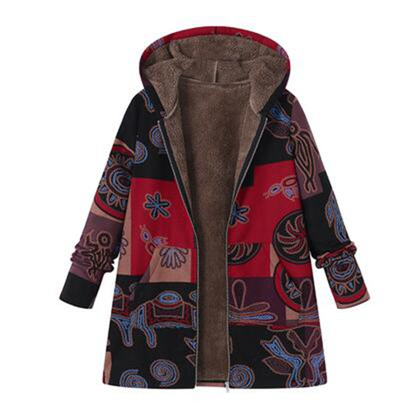 b Warm Winter Jacket Women Fashion Plus Size Long Coat Hooded Open Front Thick Parka Jacket Outerwear Overcoat Abrigos De Mujer