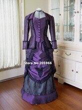 Custom Made 18th Century Victorian Dark Purple Taffeta Venice Lace Trimmed Bustle Day Dress Costume/Event Dress Tea Party Dress