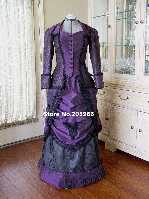 Custom Made 18th Century Victorian Dark Purple Taffeta Venice Lace Trimmed Bustle Day Dress Costume/Event Dress Tea Party Dress